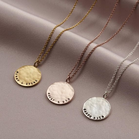 Personalised Hammered Disc Necklace