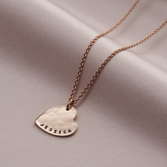 Personalised Hammered Heart Necklace