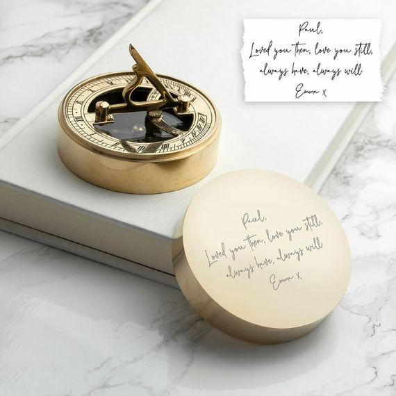 Personalised Handwriting Sundial Compass