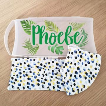 Personalised Mask Case with Ditsy Pattern Face Masks