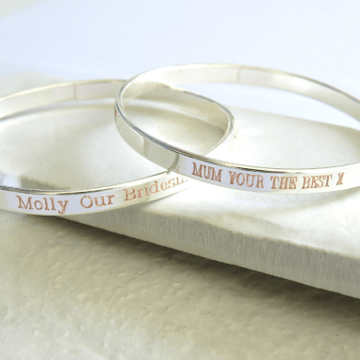 Personalised Clarendon Thin Bangle
