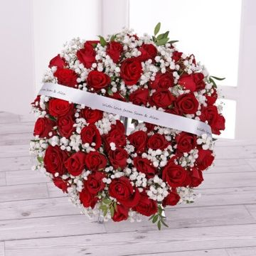 Personalised Funeral Red Roses Wreath