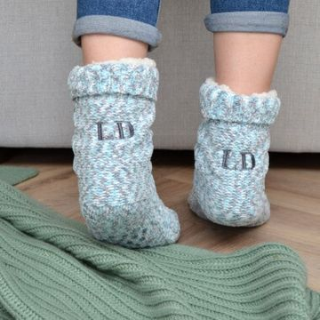 Personalised Speckled Knit Slipper Socks
