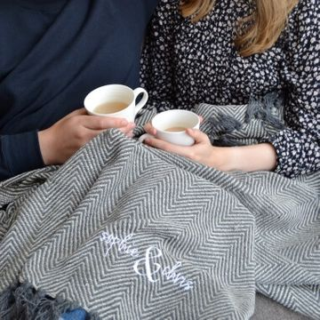 Personalised Couples Embroidered Blanket
