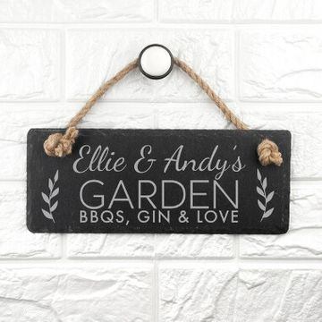 Personalised Our Garden Hanging Slate Sign