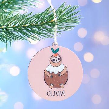 Personalised Sloth Tree Decoration