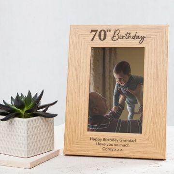 Personalised 70th Birthday Photo Frame