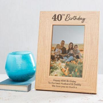 Personalised 40th Birthday Photo Frame