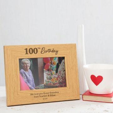 Personalised 100th Birthday Photo Frame