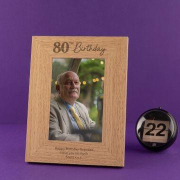 Personalised 80th Birthday Photo Frame