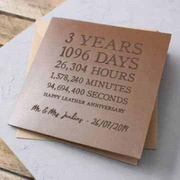 Personalised Leather (3rd) Anniversary Time Card