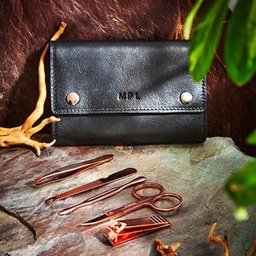 Personalised Vintage Leather Grooming Kit