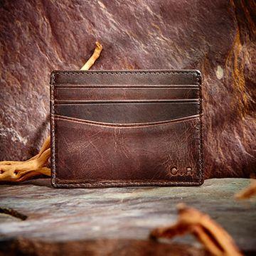 Personalised Vintage Leather Card Holder