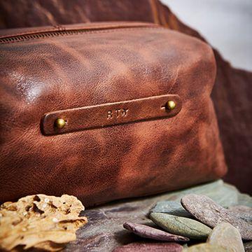 Personalised Vintage Leather Wash Bag