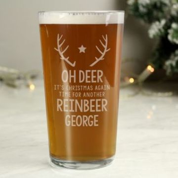 Personalised Time For A Reinbeer Pint Glass