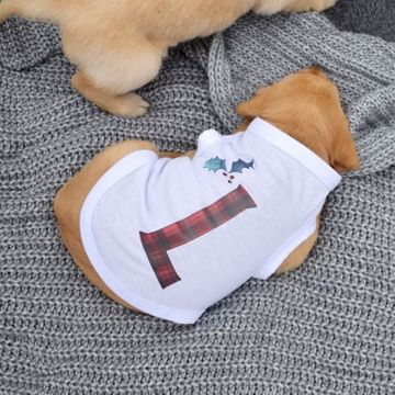 Personalised Christmas Tartan Letter Dog T-Shirt