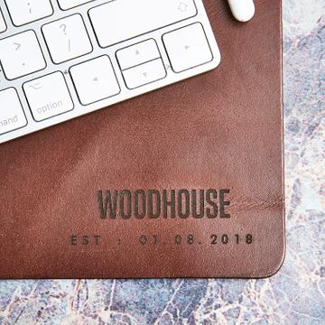 Personalised Vintage Leather Date Desk Mat