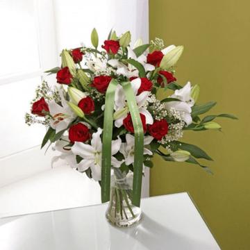 Personalised Luxury Red Rose & Lily Bouquet