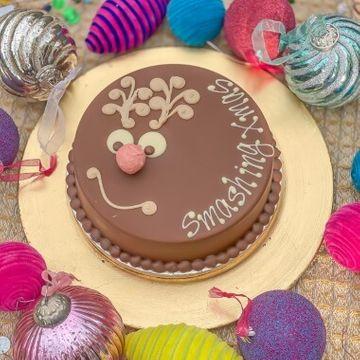 Personalised Vegan Chocolate Rudolph Smash Cake