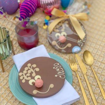 Personalised Vegan Rudolph Letterbox Chocolate Slab
