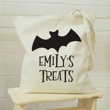 Personalised Bat Halloween Treats Tote Bag