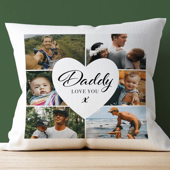Personalised 6 Photo Dad Cushion
