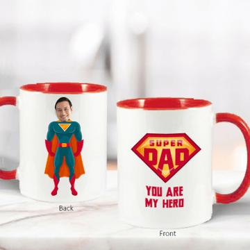 Personalised Super Dad Face Photo Mug