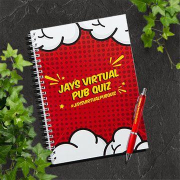Jay's Virtual Pub Quiz A4 Notebook & Pen Set