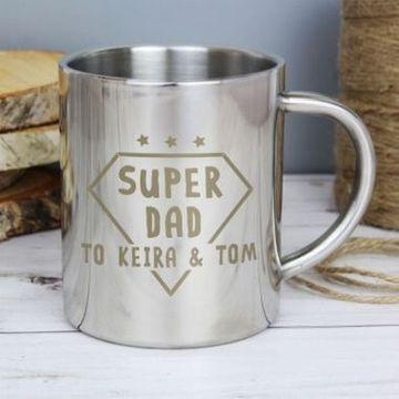 Personalised Super Dad Stainless Steel Mug