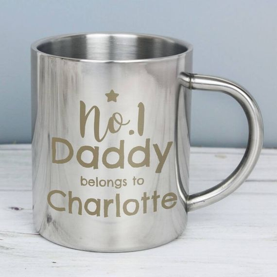 Personalised No.1 Daddy Stainless Steel Mug
