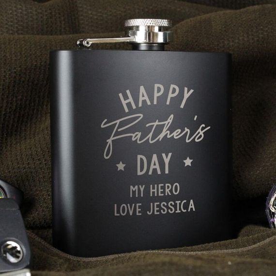 Personalised Father's Day Black Hip Flask