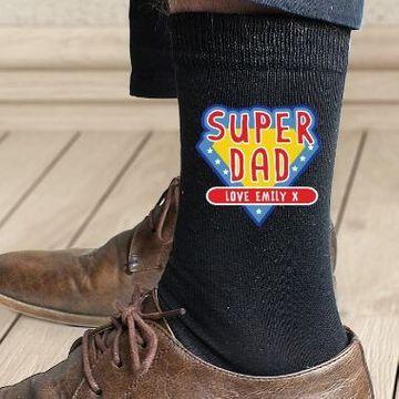 Personalised Super Dad Mens Socks