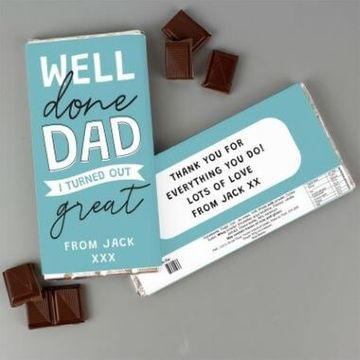 Personalised Well Done Dad... Milk Chocolate Bar
