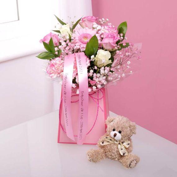 Personalised New Baby Girl Gift Bag & Teddy