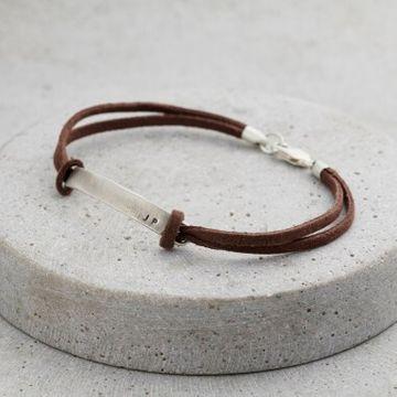 Personalised Men's Slim Leather Cord Bracelet