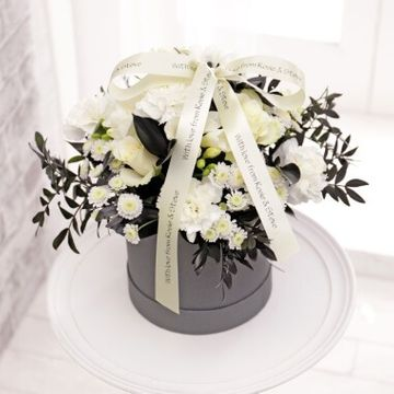 Personalised Monochrome Floral Hat Box