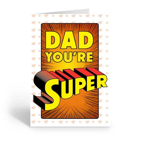 Personalised 'Dad You're Super' Card (Medium)