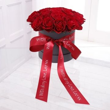 Personalised Romantic Red Rose Hatbox