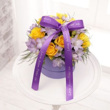 Personalised Rose Freesia Lilac Hat Box