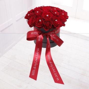 Personalised Diamante Roses Hat Box