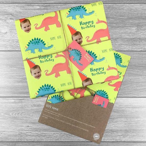Personalised Dinosaur Photo Gift Wrap