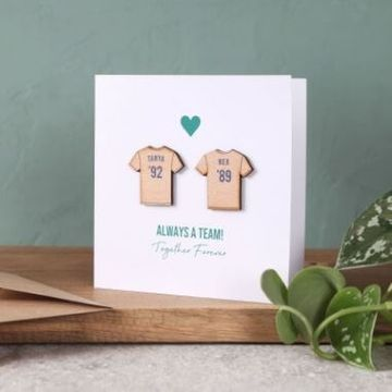 Personalised Couples Football Shirt Keepsake Card