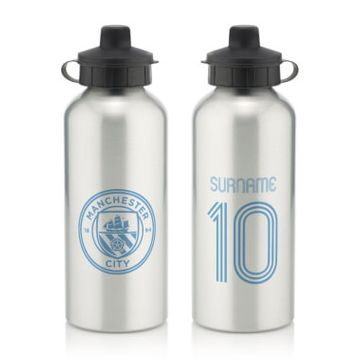 Personalised Manchester City FC Retro Shirt Water Bottle
