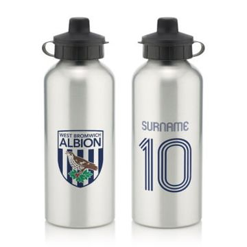 Personalised West Bromwich Albion FC Retro Shirt Water Bottle