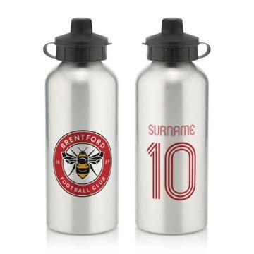 Personalised Brentford Retro Shirt Water Bottle
