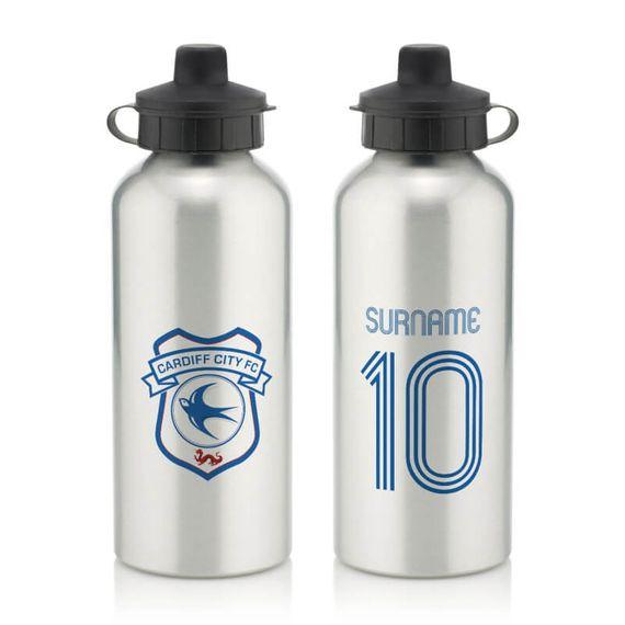 Personalised Cardiff City Retro Shirt Water Bottle