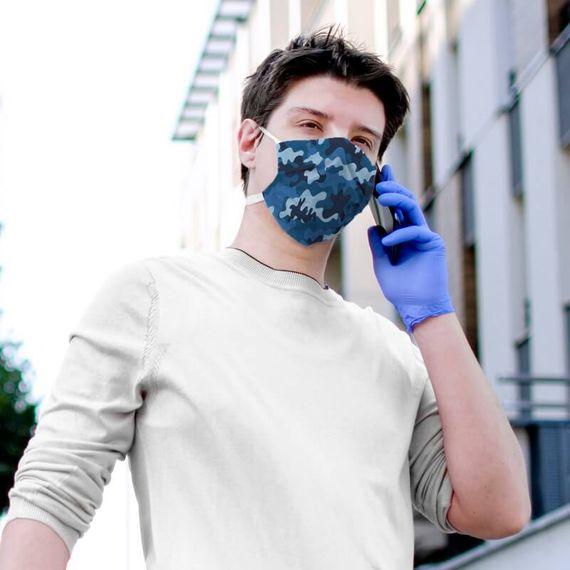 Blue Camo Face Mask