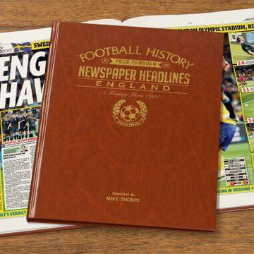 Personalised England Football History Newspaper Book