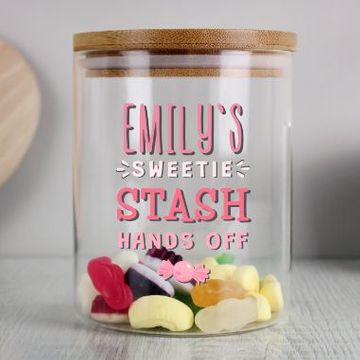 Personalised Sweetie Stash Glass Jar with Bamboo Lid