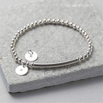 Personalised Sterling Silver Disc Stretch Bracelet